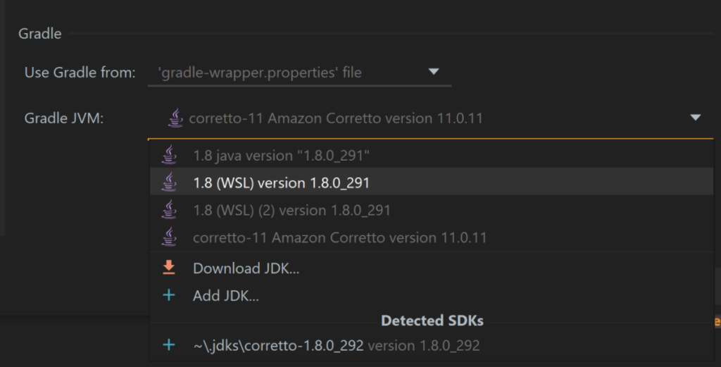 Load the correct JDK in your Gradle settings